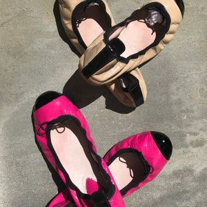 Hot Pink & Beige Black Patent Leather Ballet Flats